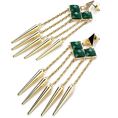 2b79a3818 New style extremely long fashion jewellery gold green stone chain tassel  earrings: Amazon.co.uk: Jewellery