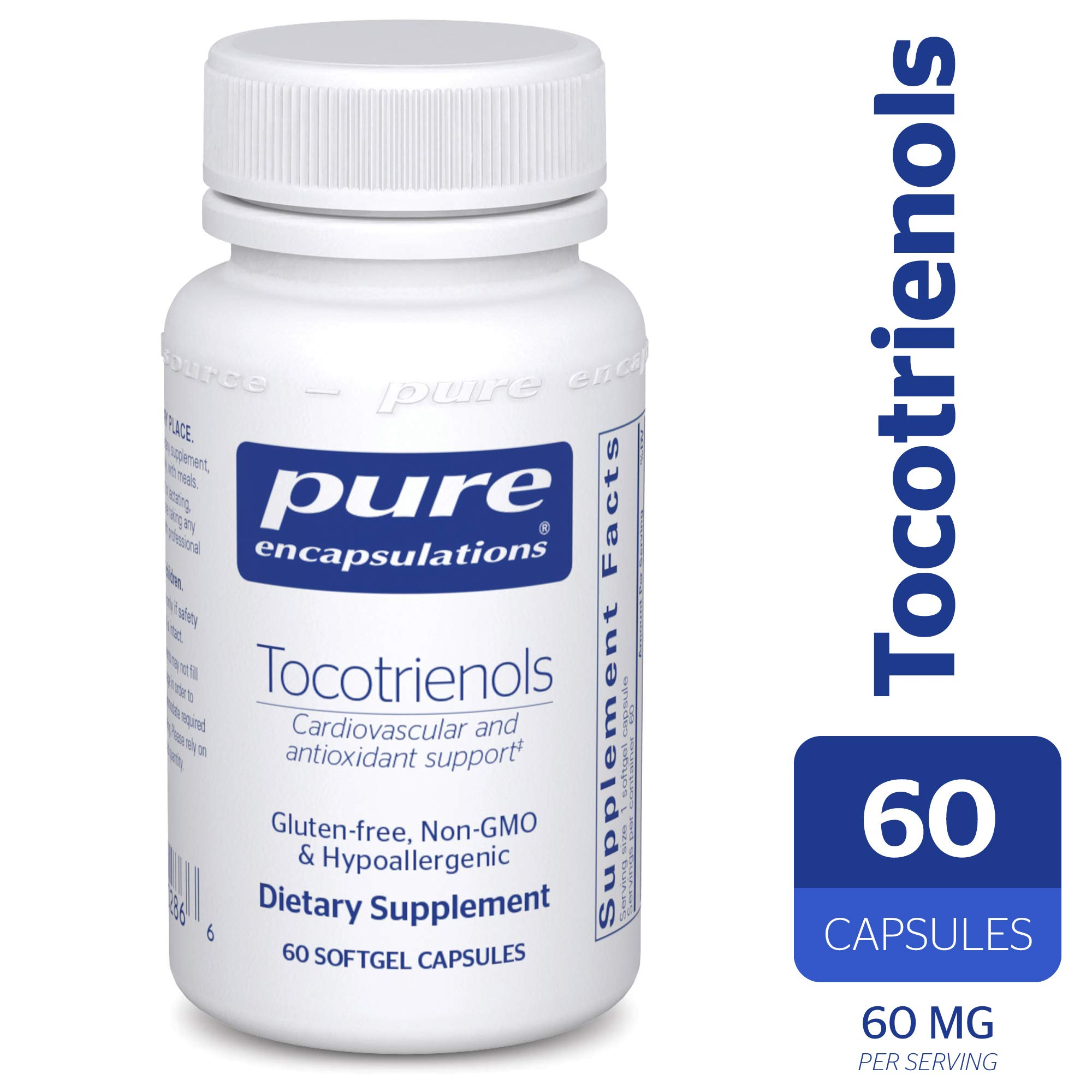 Pure Encapsulations - Tocotrienols - Hypoallergenic Supplement with Mixed Tocopherols for Cardiovascular and Antioxidant Support* - 60 Softgel Capsules