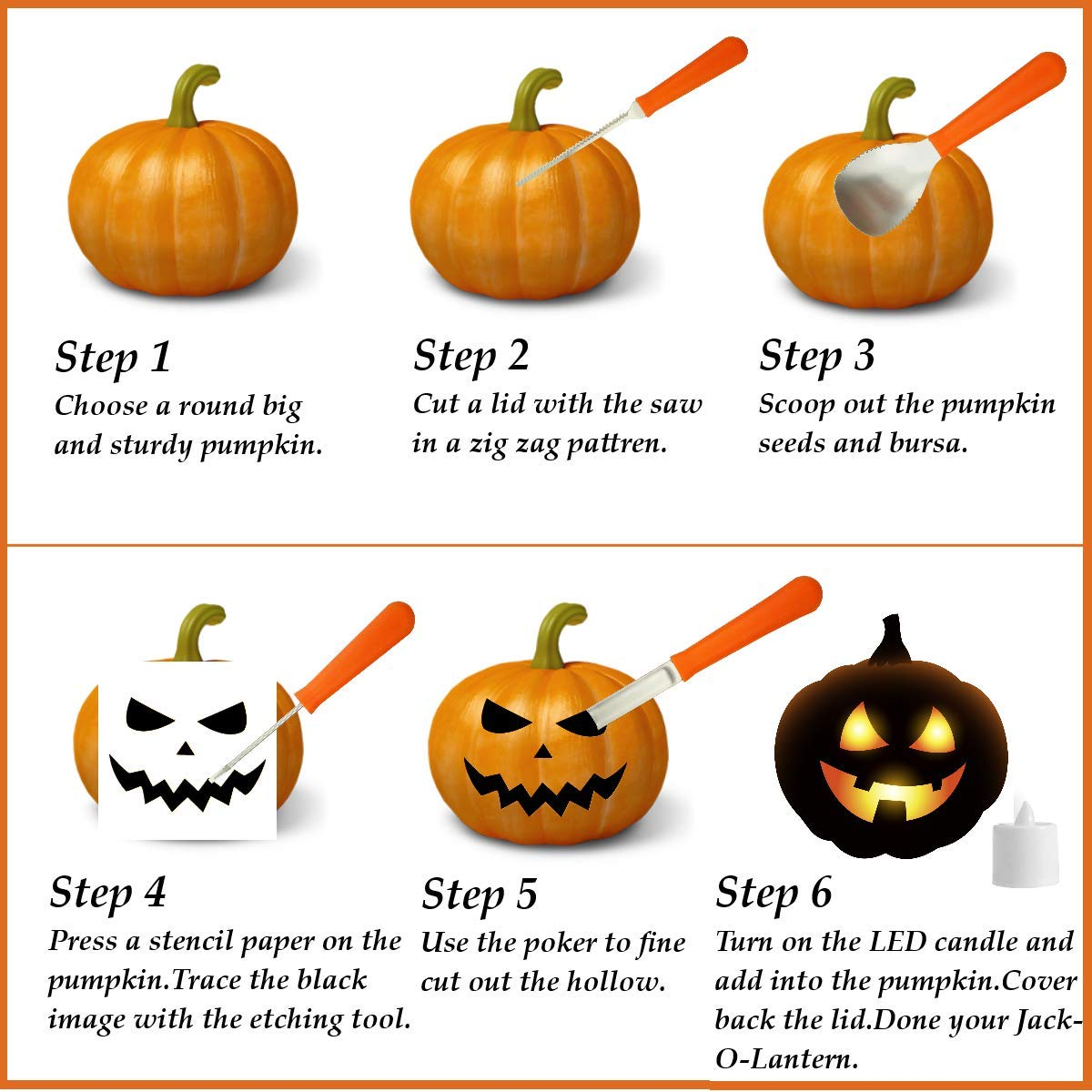 Professional Pumpkin Carving Tools Kit【Set of 4】Premium Heavy Duty Stainless Steel Knives for Easily Sculpt Halloween Jack-O-Lanterns with【Many Pumpkin Carved Stencils/Patterns/Templates】 by AUXIN (Image #2)