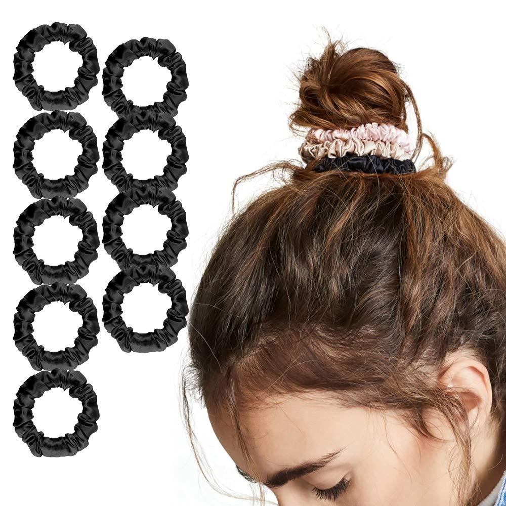 skinny mini thin yellow 90/'s hair bobble handmade scrunchy pack Hair scrunchies silk satin hair ties /& elastics blue stripy