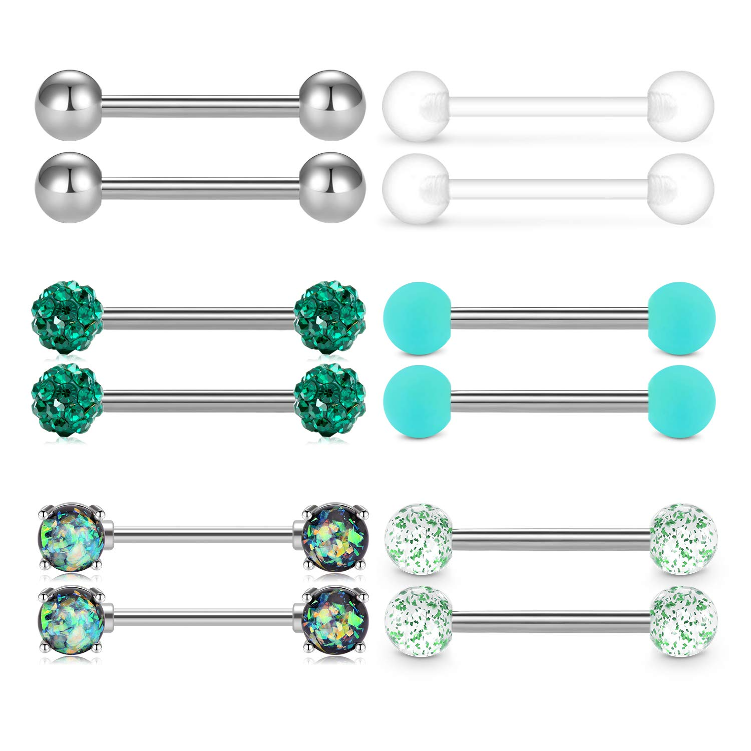 QWALIT Tongue Nipple Rings 14G Nipplerings Straight Barbell Surgical Steel Viper Tongue Tip Piercing Nipple Piercing Bar & Flexible Retainer for Women Girls 5/8'' 16mm 6pairs by QWALIT