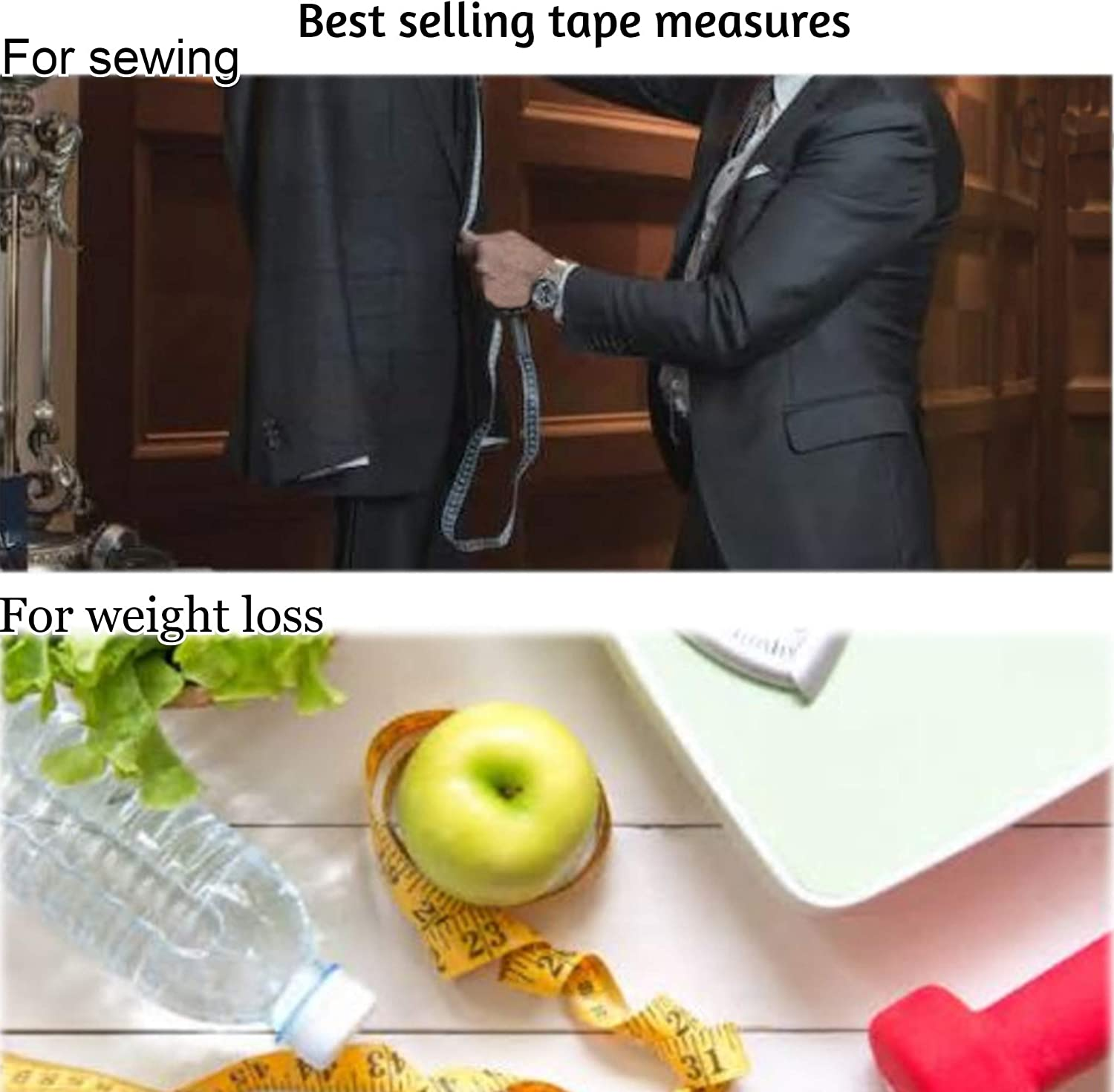 White Soft Tape Measure Double Scale Body Sewing Flexible Ruler for Weight Loss Medical Body Measurement Sewing Tailor Craft Vinyl Ruler Has Centimetre Scale on Each Side 60-inch