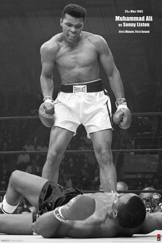 Pyramid America Muhammad Ali vs Liston First Minute First Round Knockout 1965 Famous Boxing Match Photo Cool Wall Decor Art Print Poster 12x18