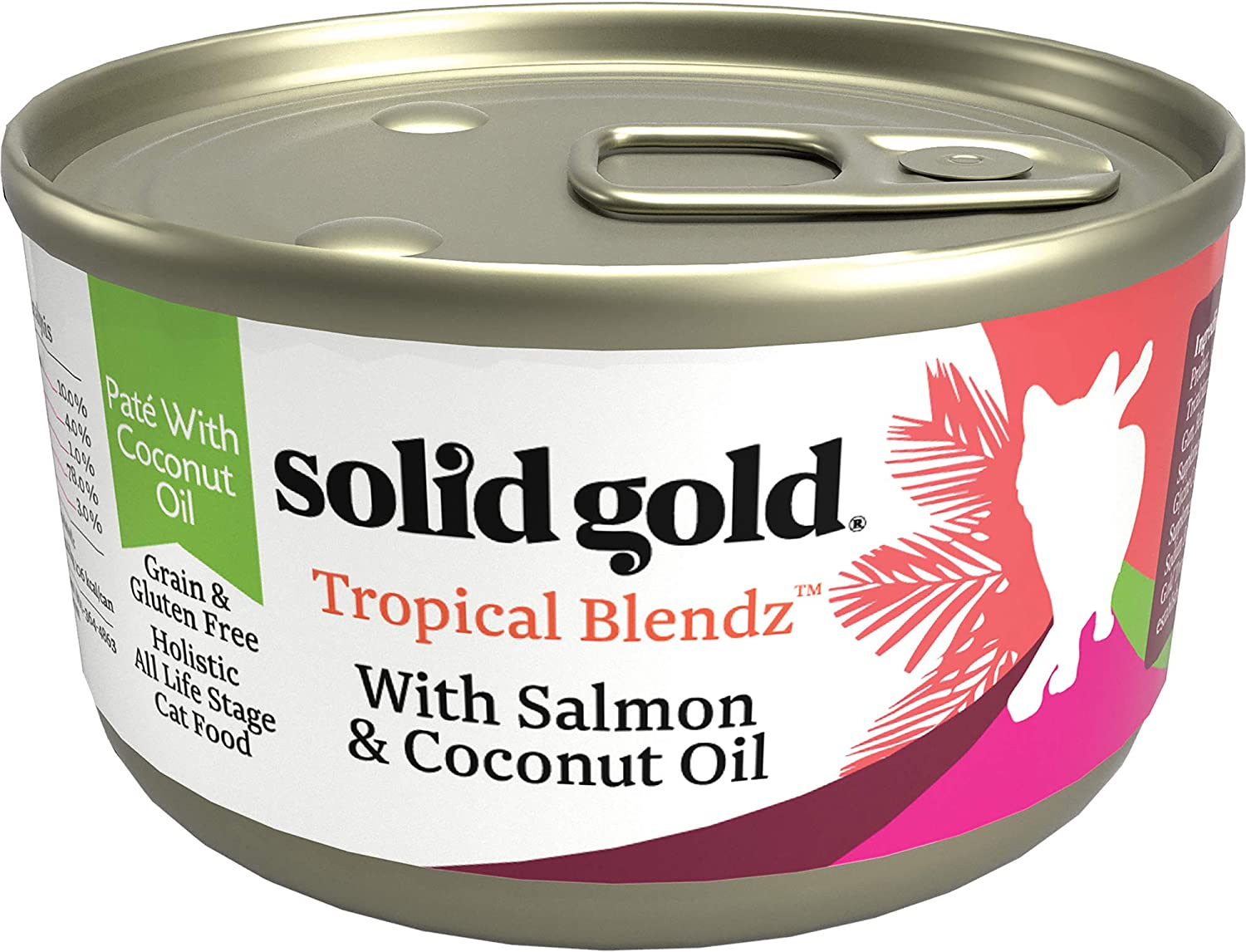 Solid Gold Tropical Blendz Pate with Coconut Oil - Grain-Free Holistic Wet Cat Food with Real Meat