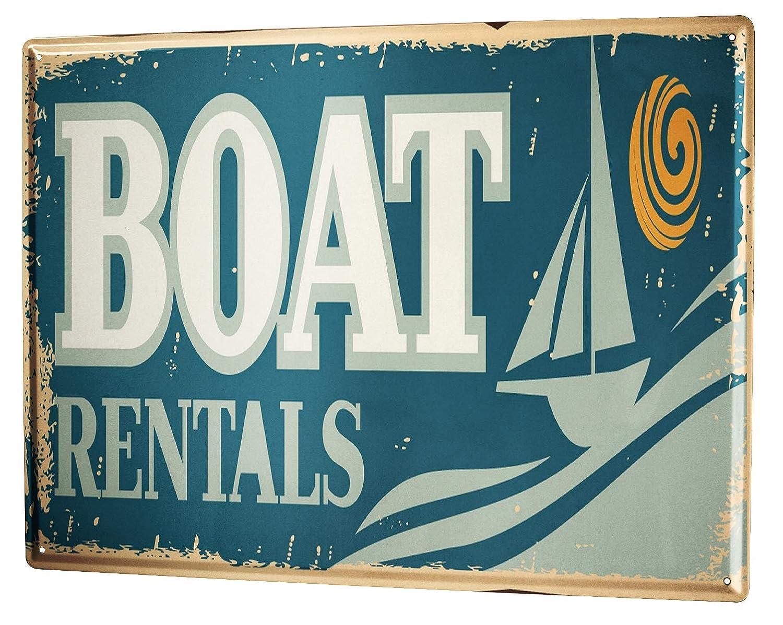 Cartel Letrero de Chapa Retro Alquiler de barcos: Amazon.es ...