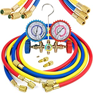 """LIYYOO Air Conditioning Refrigerant Charging Hoses with Diagnostic Manifold Gauge Set for R410A R22 R404 Refrigerant Charging,1/4"""" Thread Hose Set 60"""" Red/Yellow/Blue (3pcs) with 2 Quick Coupler"""