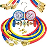 LIYYOO Air Conditioning Refrigerant Charging Hoses with Diagnostic Manifold Gauge Set for R410A R22 R404 Refrigerant…