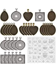 SUPVOX 30pcs Bezel Pendant Trays Resin Casting Molds Silicone Resin Jewelry Molds with Storage Case for Crafting DIY Jewelry Making Gift