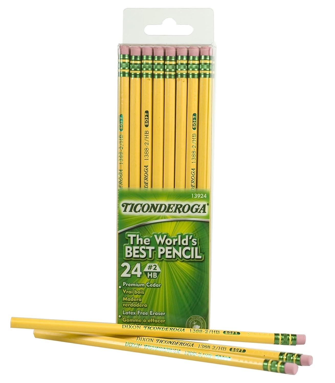 Amazon.com : Dixon Ticonderoga Wood-Cased #2 HB Pencils, Box of 24 ...