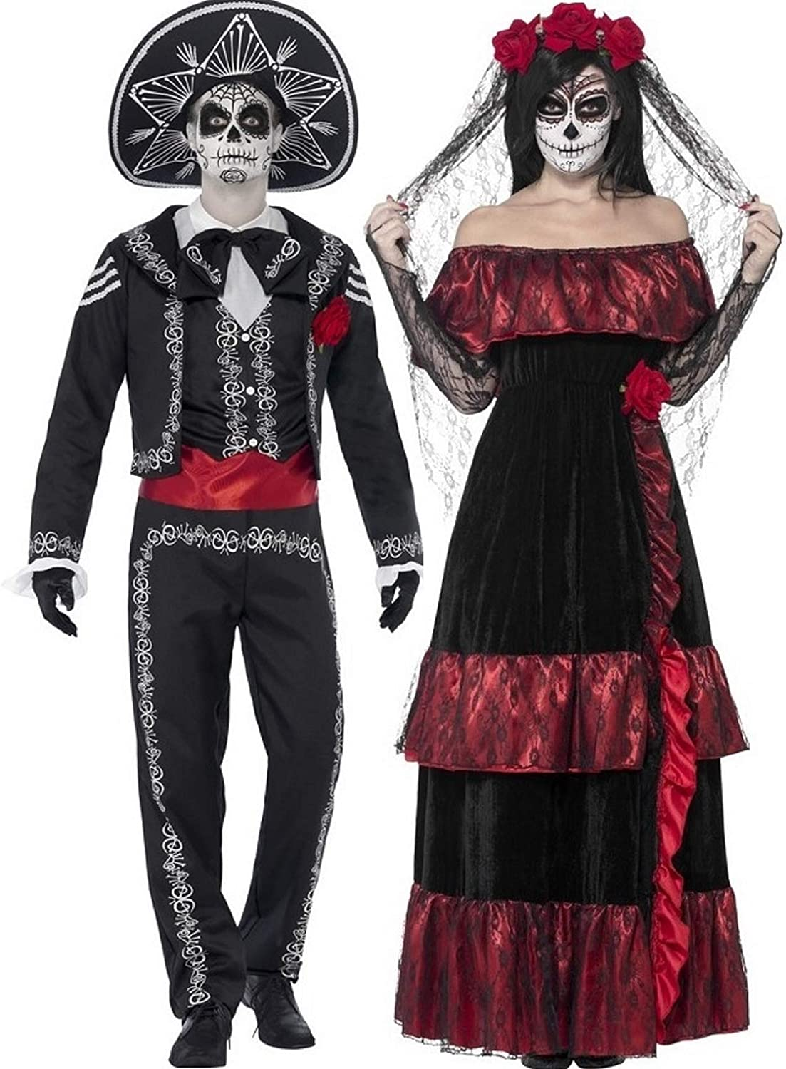 Sugar Skull Make Up Halloween Fancy Dress Women Ladies Day Of The Dead Costume
