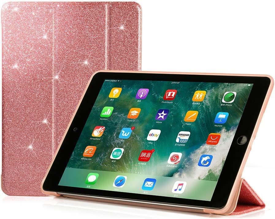 RUBAN Case Compatible with iPad (9.7-Inch, 2018/2017 Model) - Ultra Slim Lightweight Smart Shell Standing Cover with Auto Wake/Sleep Feature, Pink Glitter