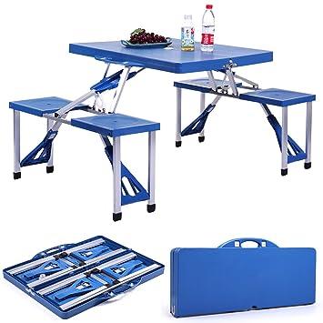 Amazon.com: Mesa de picnic portátil para niños con 4 ...