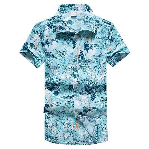 efed86123 Dacawin Men Hawaiian Shirt-Short Sleeve Front Pocket Beach Floral Printed  Tee Top Button Down