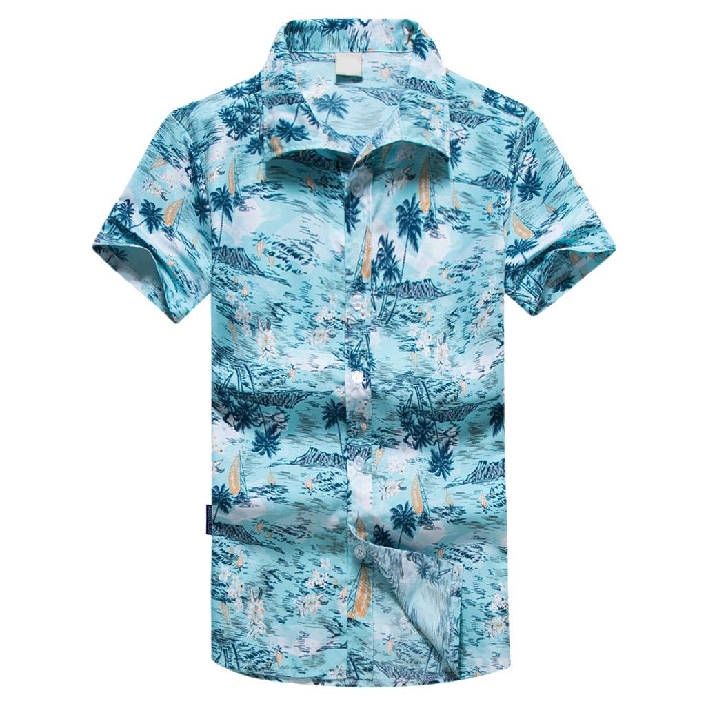 NUWFOR Men Hawaiian Print Short T-Shirt Sports Beach Quick Dry Blouse Top Blouse(Blue,L US Chest:43.7'' by NUWFOR (Image #1)