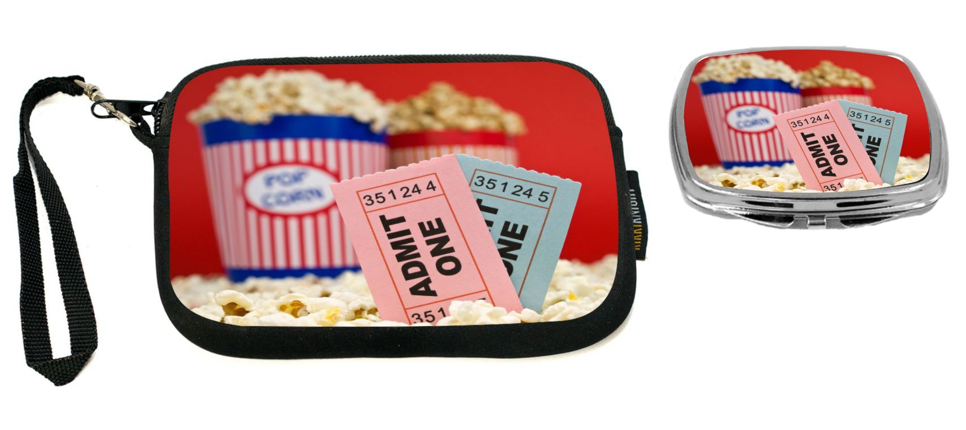 Rikki Knight Movie Stubs and Popcorn Design Neoprene Clutch Wristlet with Matching Square Compact Mirror