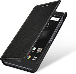 StilGut Book Type Case, custodia per BlackBerry Motion a libro booklet in vera pelle, Nero