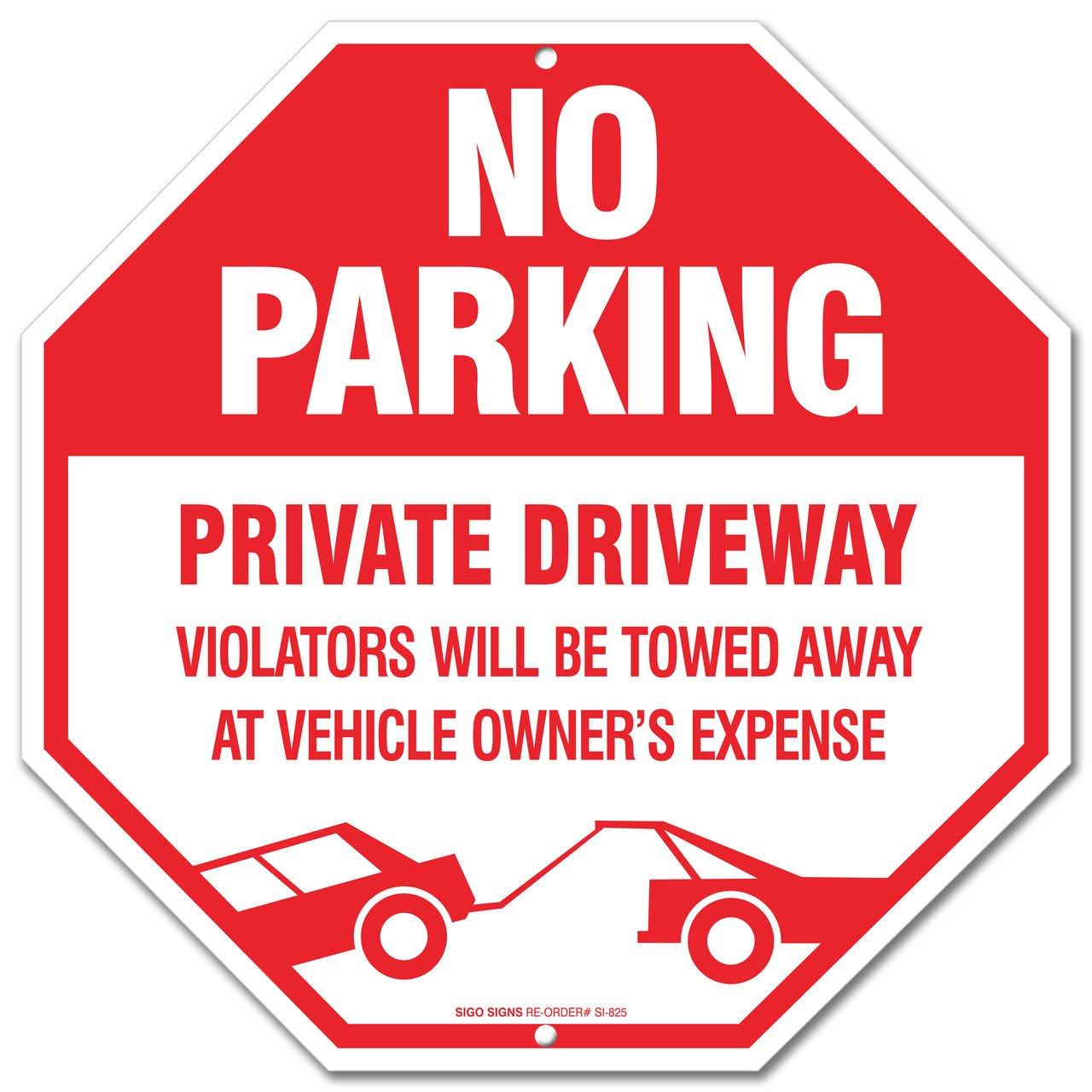 No parking sign private driveway violators will be towed away at no parking sign private driveway violators will be towed away at vehicle owners expense legend large 12 x 12 octagon rust free 040 aluminum sign biocorpaavc Images