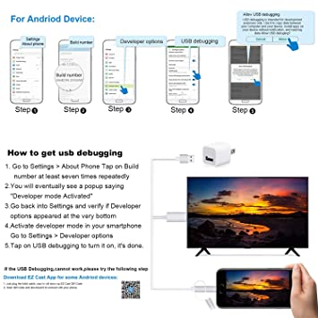3 in 1 HDMI Cable Adapter, ZAMO 1080P USB/Type-C to HDMI Adapter Mirror  Mobile Phone Screen to TV/Projector/Monitor Compatible with S8/9 Note 8/9  and