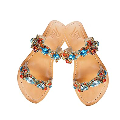 6ce29adb7 PASHA Tino Crystal Jeweled Leather Sandals (5)