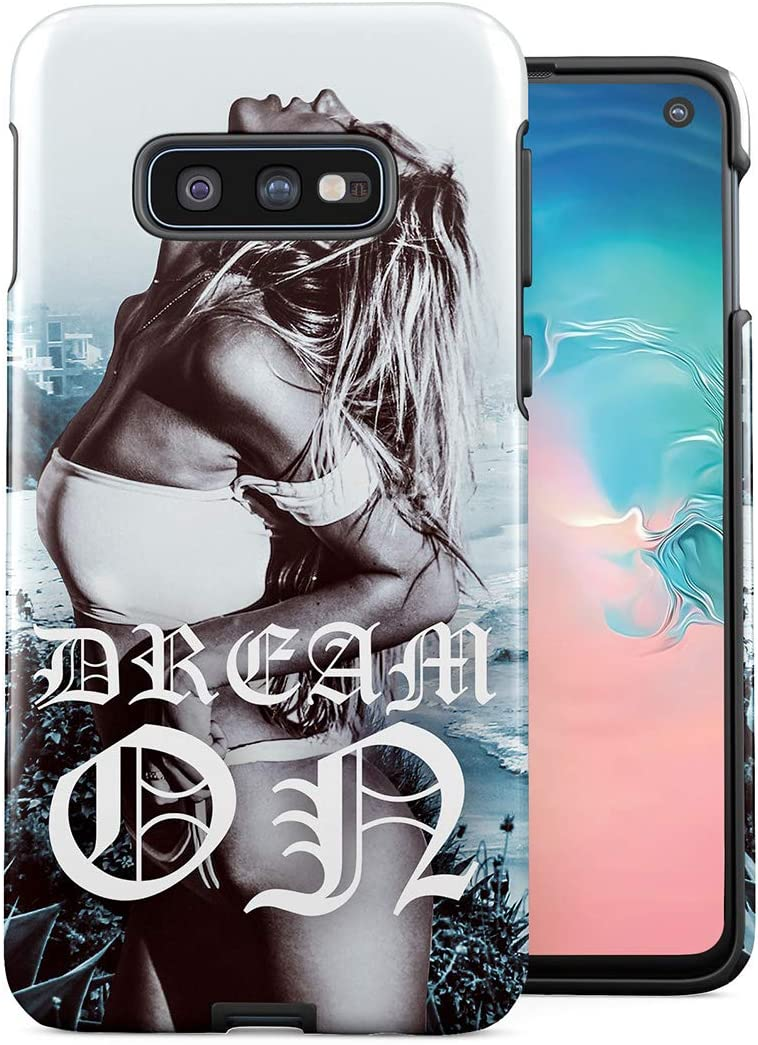 Dream On Hot Naughty Naked Blonde Wild Girl California Beach Tropical Ocean Double Layer Hard PC Armor & Shock Absorbing TPU Tough Cover Shell Compatible with Samsung Galaxy S10e