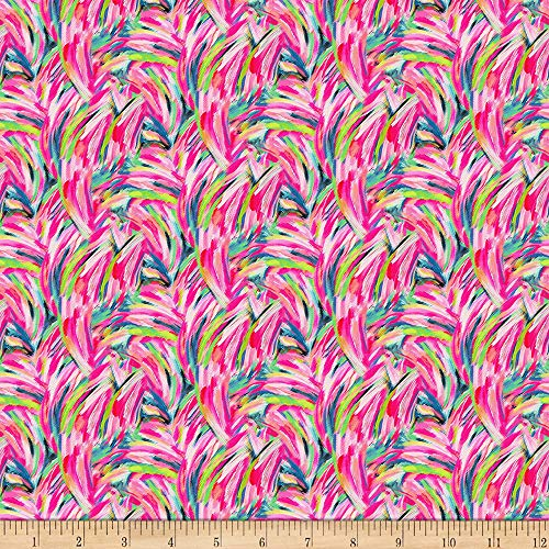 Paintbrush Studio Fabrics Fabulous Flamingos Feather Strokes Hot Pink, Fabric by the Yard