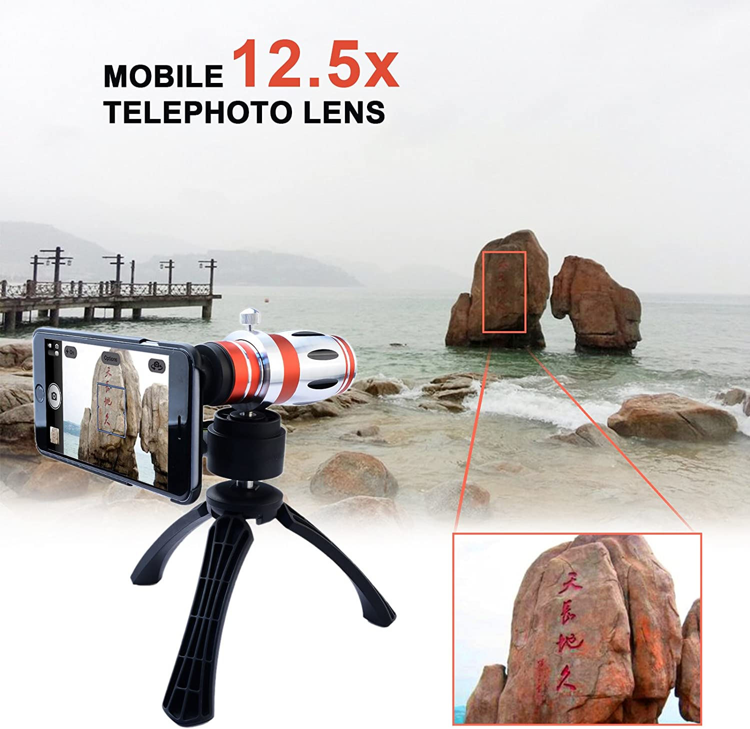Apexel Telescope 12.5x Zoom Telephoto Manual Focus Long Focal Camera Phone Lens with High-end Tripod for Samsung Galaxy S6 Edge