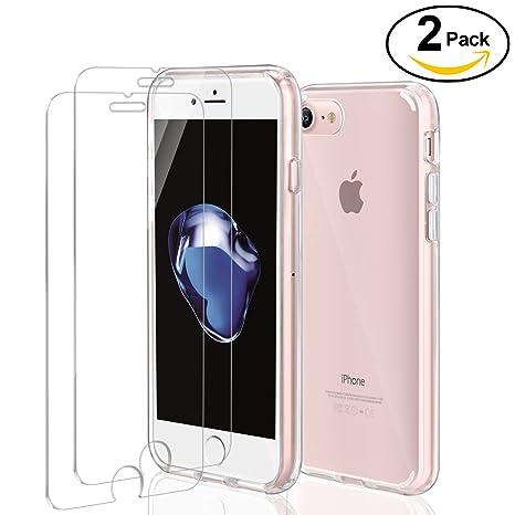 iPhone 7 Funda + [2 Unidades] Cristal Templado, ivencase Premiun Carcasa para iPhone 8 Transparente Dura PC Trasera con 2 Pack Protector de Pantalla ...