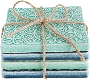 Creative Co-Op Set of 4 Blue & Green Square Stoneware Coasters