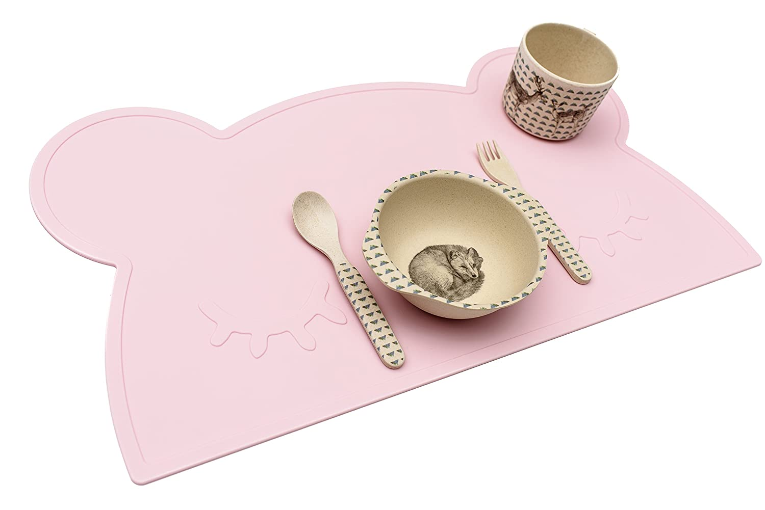 BPA free and Dishwasher safe Silicone Placemat for Babies and Children in Powder Pink Bear design