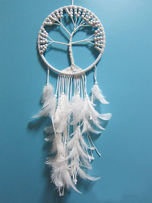 Amazon Com Bellcon White Dream Catcher For Bedroom Tree Of Life Dream Catcher For Gift With Wood Beads For Wall Hanging Dream Catchers For Wedding Decoration Long 27 X Diameter 8 Home