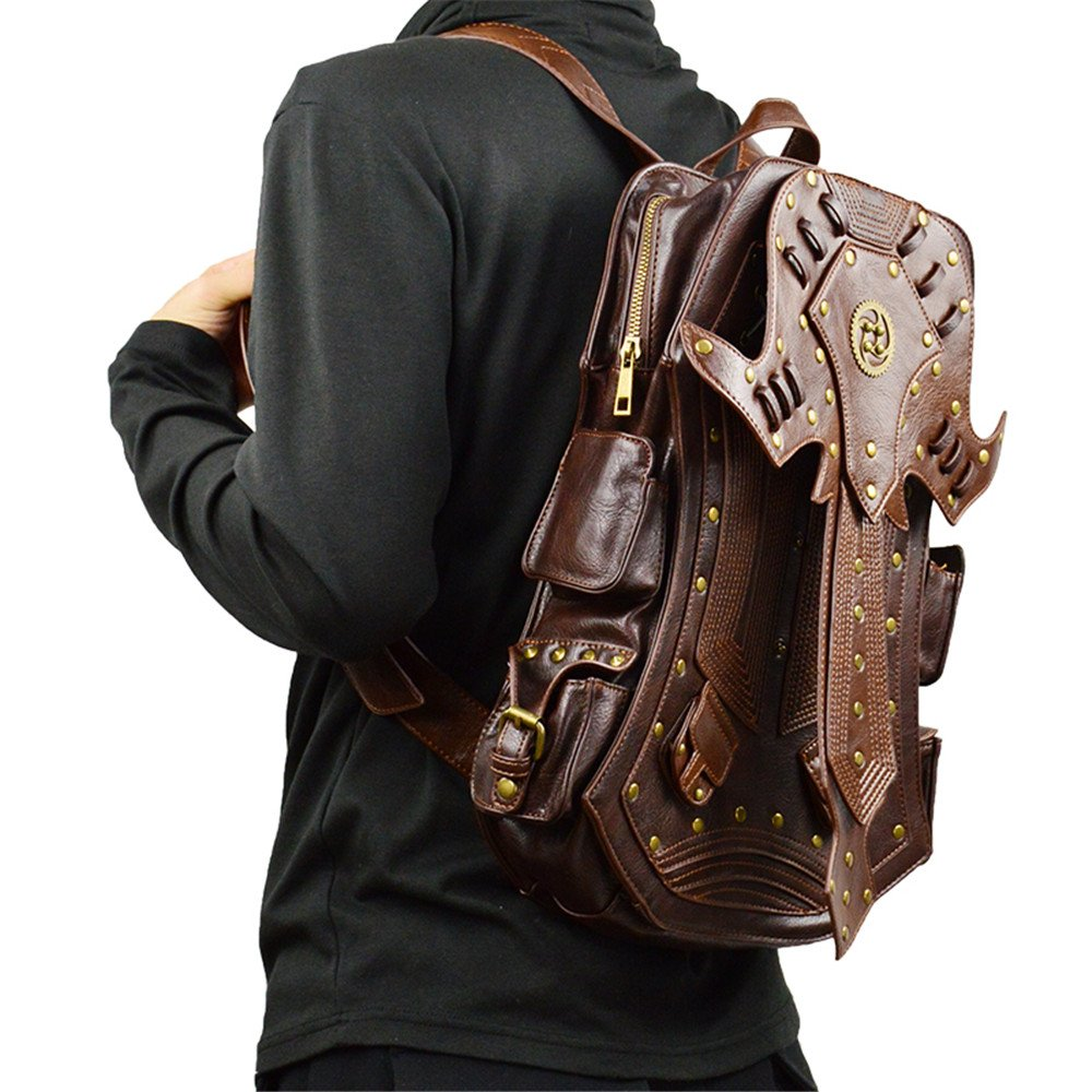 3a81a1a41b Amazon.com  steel master Steampunk Backpacks Rivet PU Leather Casual Backpacks  Retro Gothic Zippers Travel Bags  Shoes