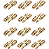 Sunjoyco 12 Pairs (24 PCS) Gold Plated Banana Plugs, Closed-Screw Type Pin Plugs Connectors Jacks for Speaker Wire Cable…