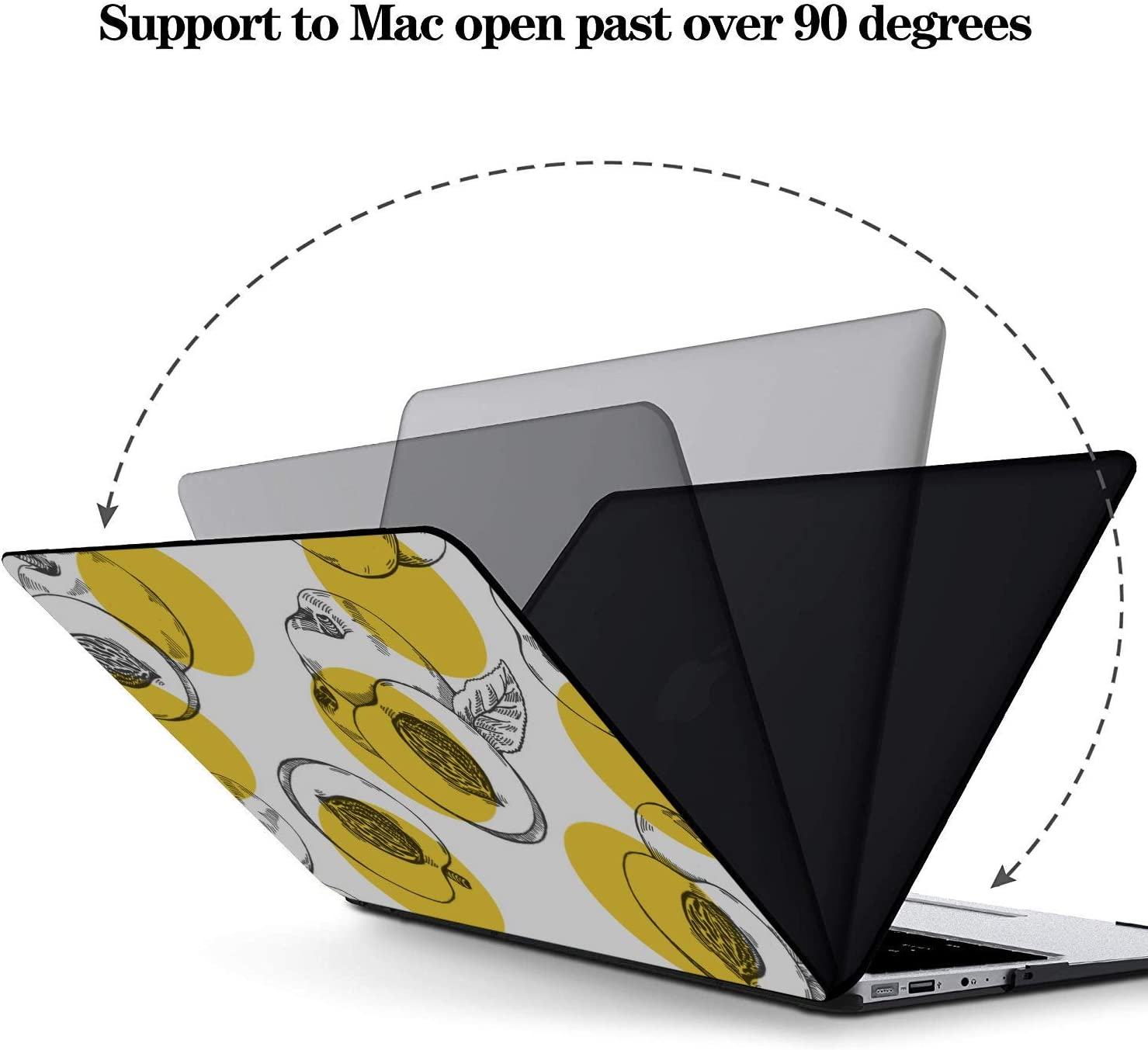 Mac Book Pro Covers Summer Sweet Fruit Yellow Peach Canned Plastic Hard Shell Compatible Mac Air 11 Pro 13 15 MacBook Cover 13 Inch Protection for MacBook 2016-2019 Version