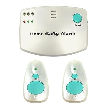Alarma de alerta inalámbrica para cuidadores - Alerta de emergencia inteligente para el hogar con 2 botones de llamada para personas mayores, ...