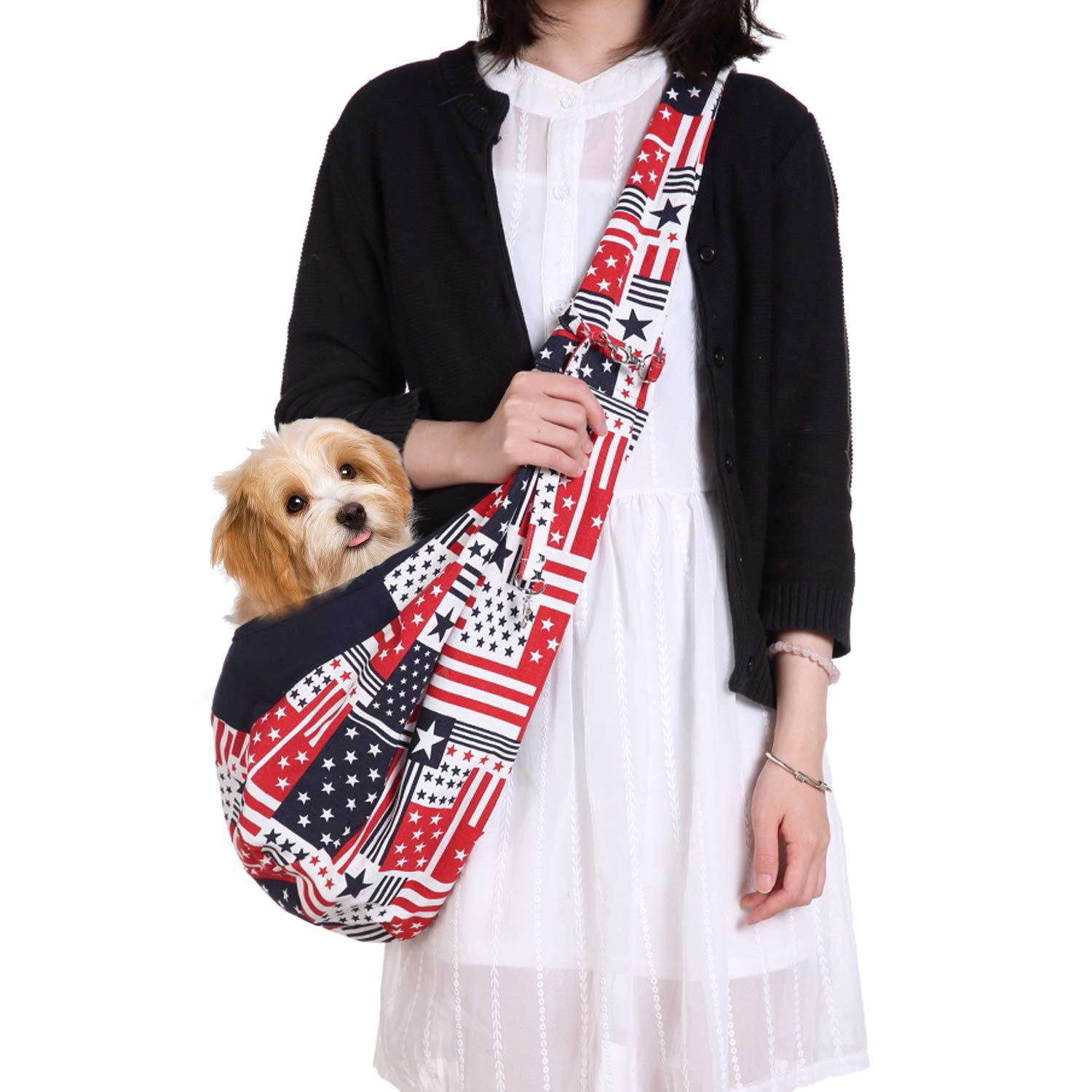 Flag pattern adjustable swee Hands-Free Reversible Pet Dog Cat Sling Carrier Bag Travel Tote Soft Comfortable Puppy Kitty Rabbit Double-Sided Pouch Shoulder Carry Tote Handbag (Flag Pattern Adjustable)