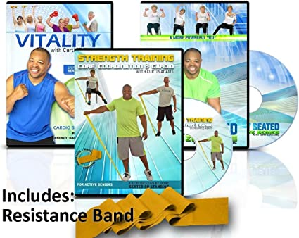 Amazon Com Senior Exercise Workout Video 3 Dvds Includes Resistance Band With Curtis Adams All Exercises Are Demonstrated Sitting And Standing Sports Outdoors