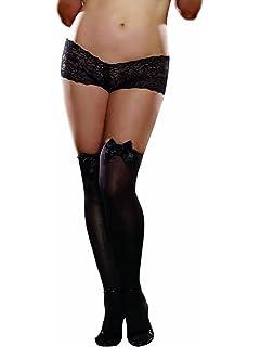 52b39d8fa Amazon.com  Dreamgirl Women s Plus Size Bow Top Stockings