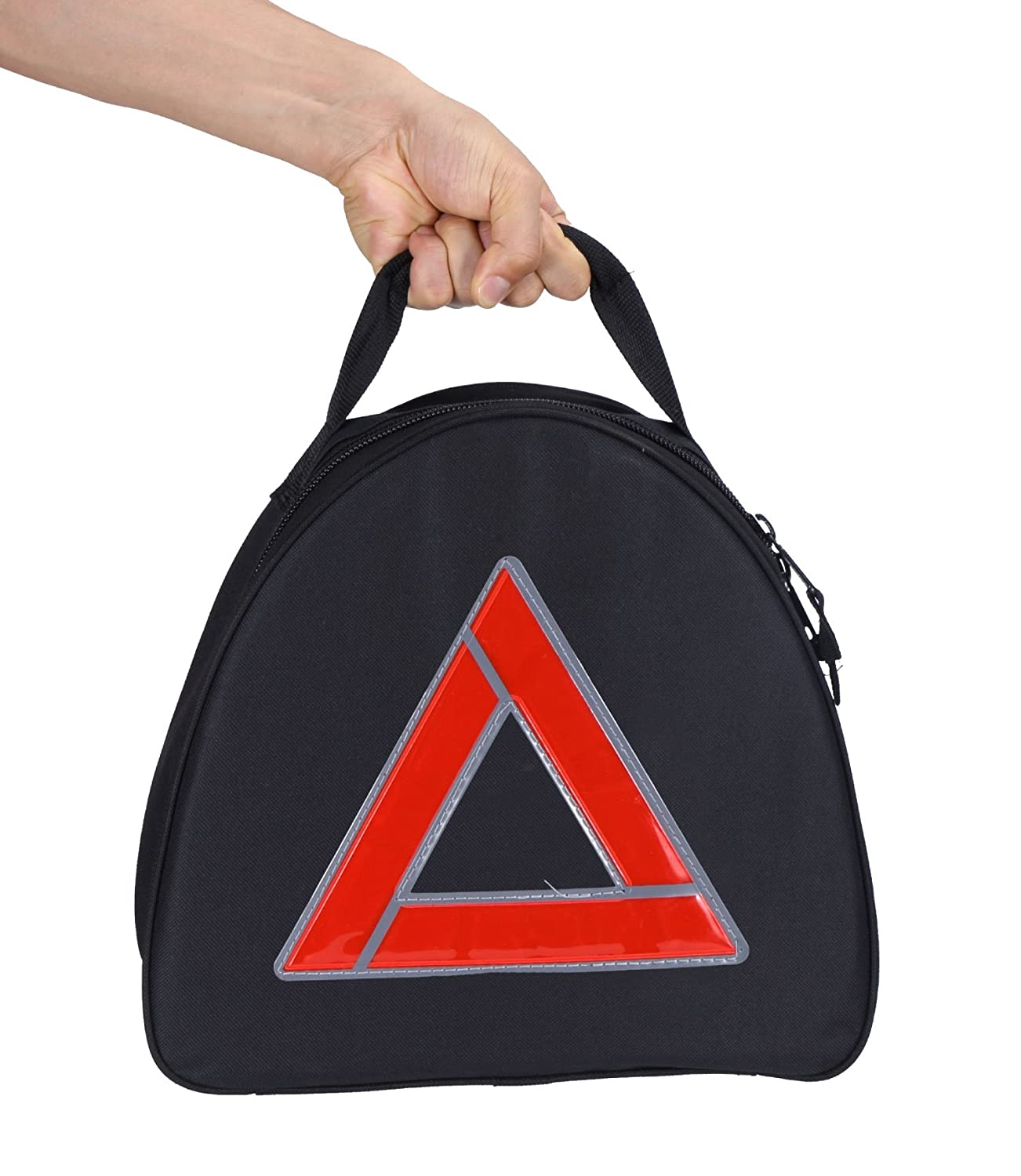 Thrive Roadside Assistance Auto Emergency Kit + First Aid Kit – Triangle Bag - Contains Jumper Cables, tools, Reflective Safety Triangle and more. Ideal winter accessory for your car, truck, camper
