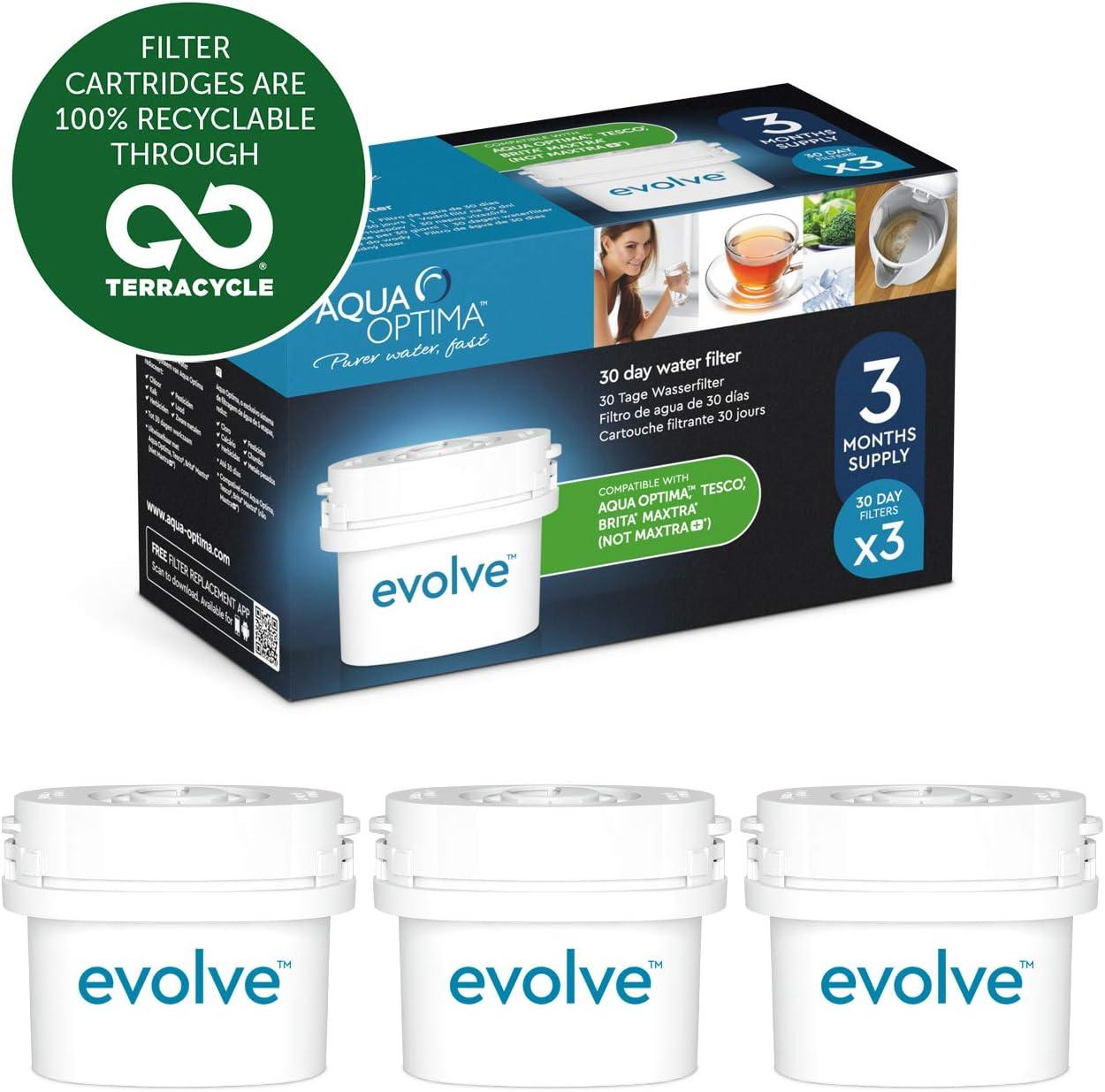 Aqua Optima EVS301 Evolve - paquete de 3 meses, filtros de agua de 3 x 30 días, Fit BRITA Maxtra (no * Maxtra +): Amazon.es: Hogar