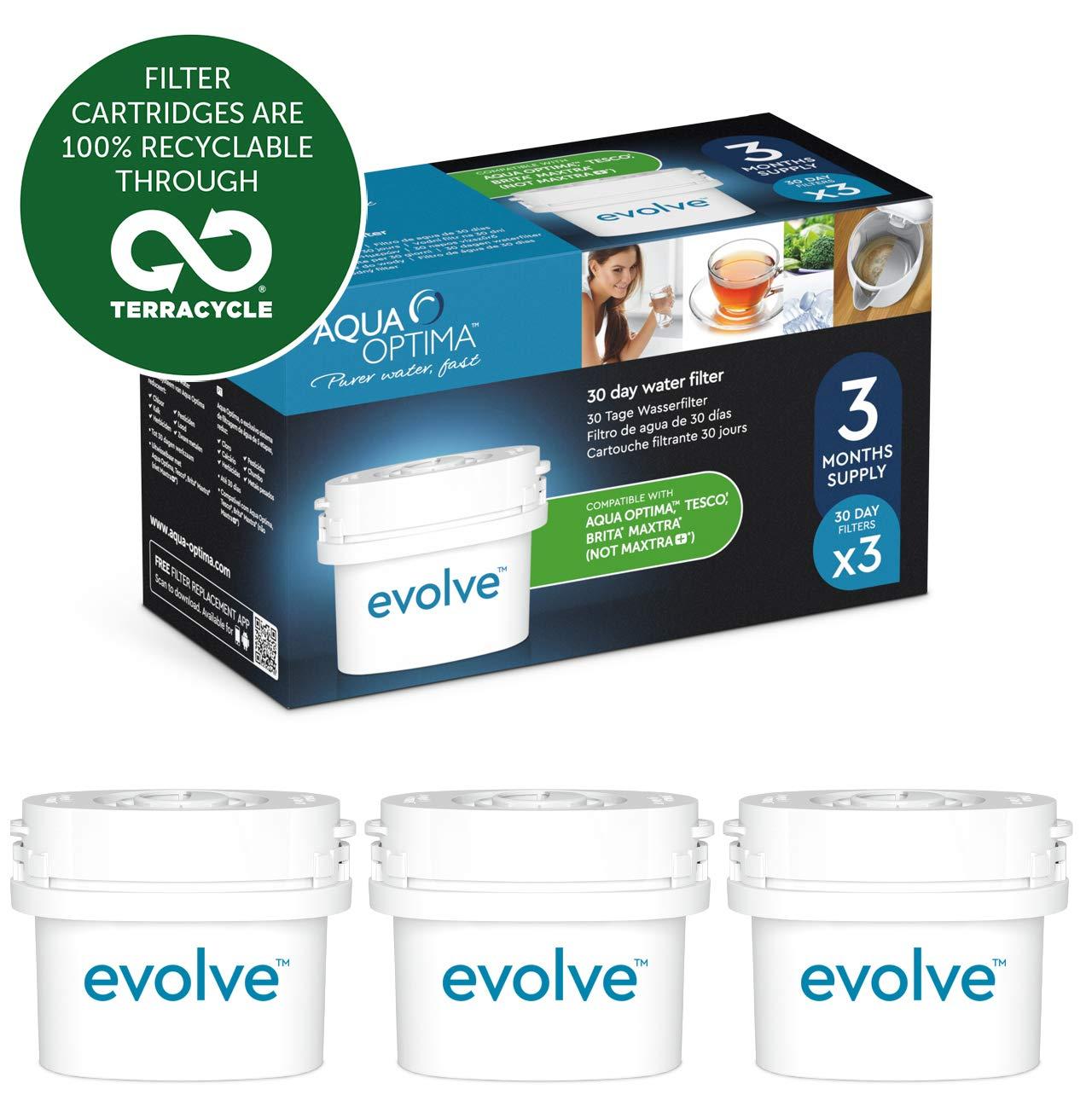 non *Maxtra+ Aqua Optima Evolve confezione 3 mesi - EVS301 3 filtri per acqua x 30 giorni adatto *BRITA Maxtra