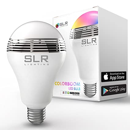 SLR Speaker Sound LED Light Bulb with 40w Equivalent Full Color Spectrum Lighting - Bluetooth Sync