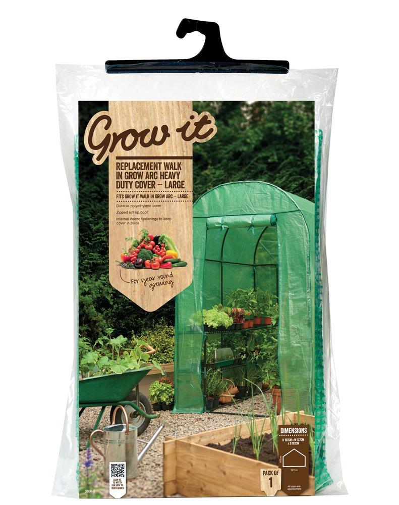 Grow It 08949 190 x 127 x 197 cm Large Replacement Walk in Grow Arc Heavy Duty Cover - Green Gardman Ltd