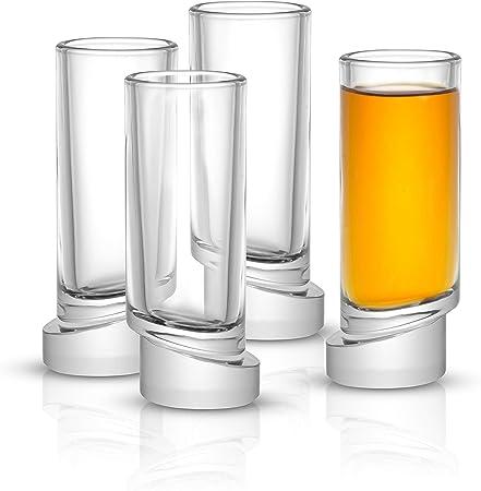 JoyJolt Aqua Vitae - Juego de 4 vasos de chupito de cristal para tequila, limoncello, vodka o aperitivo