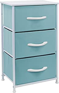 Sorbus Nightstand with 3 Drawers - Bedside Furniture & Accent End Table Chest for Home, Bedroom Accessories, Office, College Dorm, Steel Frame, Wood Top, Easy Pull Fabric Bins (Pastel Aqua)