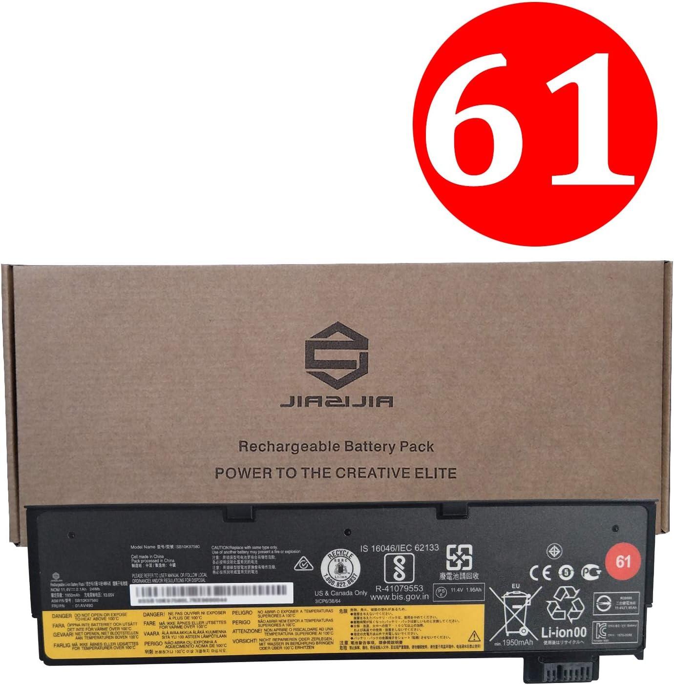 JIAZIJIA 01AV490 Laptop Battery Replacement for Lenovo ThinkPad T470 T570 T480 T580 A475 A485 P51S P52S Series SB10K97580 01AV423 4X50M08810 01AV422 SB10K97579 01AV424 SB10K97581 01AV452 11.4V 24Wh