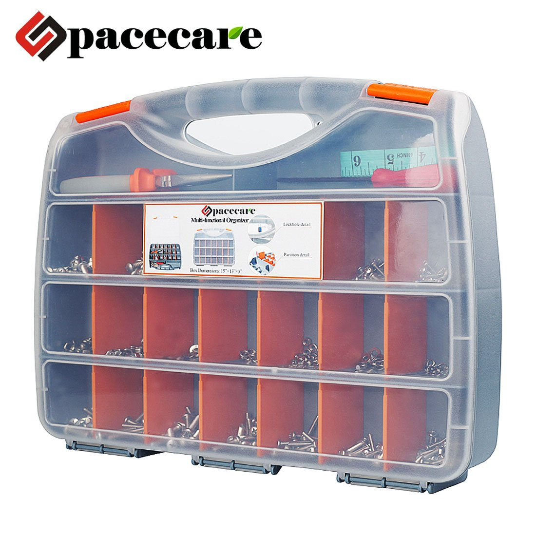 SPACECARE Tool Organizer Storage Box with 18 Removable Dividers, Rule, Srewdriver, Pliers & Screw Assortment Kit, 755 Pieces