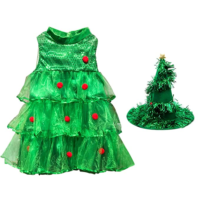 E.Life Niña en Forma de Vestido de árbol de Navidad niña niño Vestido de