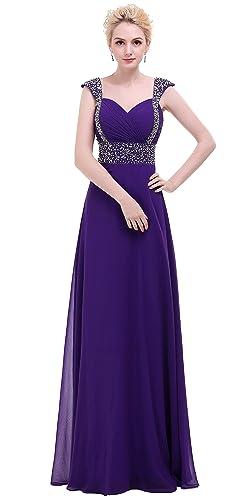 BISLU Chiffon A-line Beading Long Bridesmaid Dress Prom Evening Gown