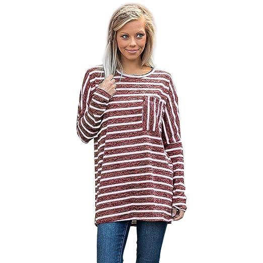 5ef06f6ec5 SODIAL Women Autumn Fashion O Neck Long Sleeve Pocket Striped Shirt Blou  Loo Casual Baggy Jumpers