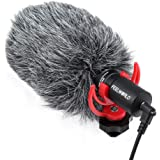 FEELWORLD FM8 Universal Compact Shotgun Video Microphone with Shock Mount, Wind Shield and 3.5mm Conversion Cable for Audio R